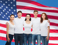 group of smiling teenagers in white blank t-shirts - PhotoDune Item for Sale