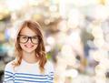 smiling cute little girl with black eyeglasses - PhotoDune Item for Sale