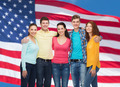 group of smiling teenagers over american flag - PhotoDune Item for Sale