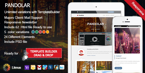 Pandolar - Responsive Email + TemplateBuilder - Newsletters Email Templates