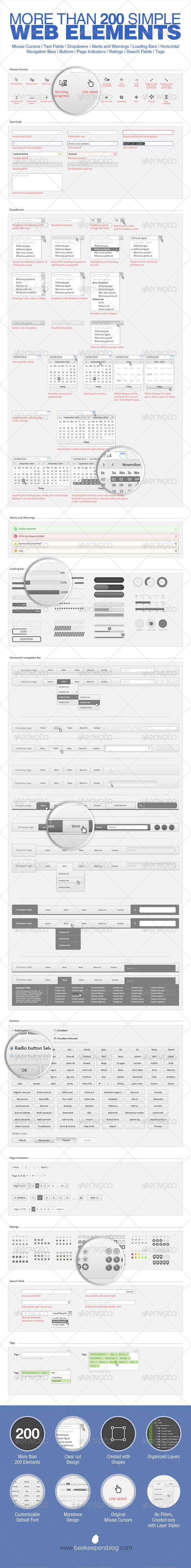 GraphicRiver Simple 200 Web Elements 8697328