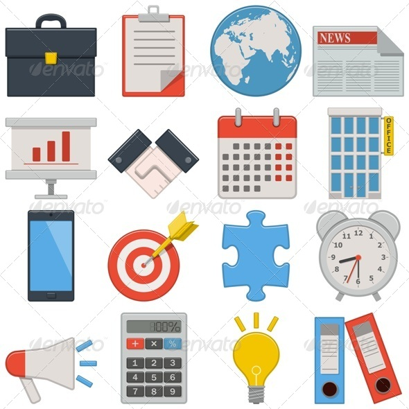 GraphicRiver Vector Flat Icons Business 8728143
