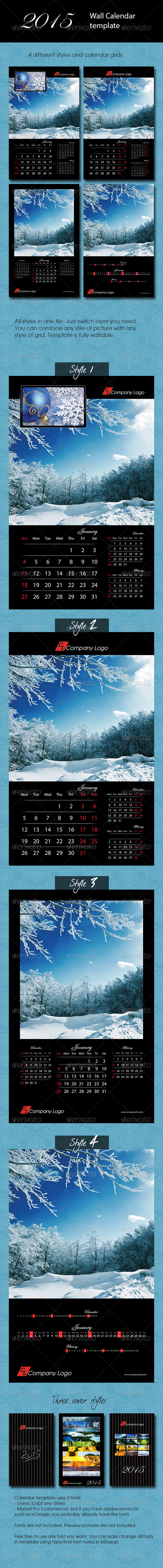 GraphicRiver 2015 Black Calendar template 8676017