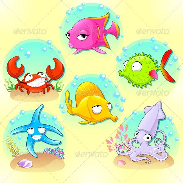 GraphicRiver Funny Sea Animals 8728145