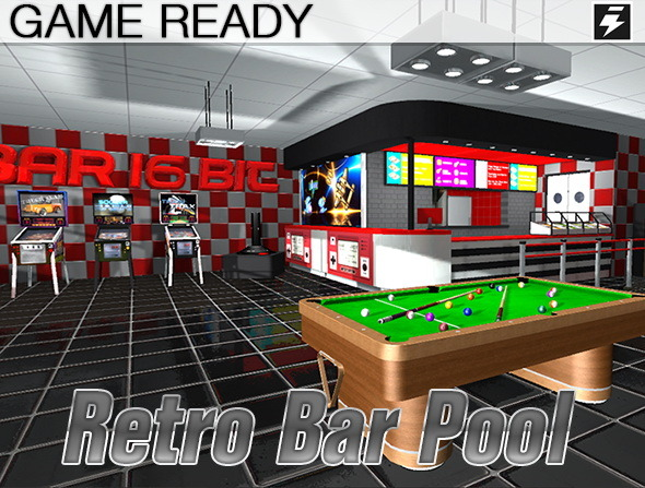 3DOcean Game Ready Retro Bar Pool Room 8728238