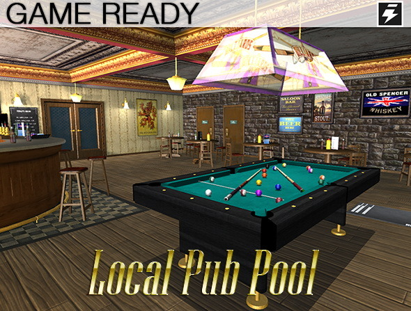 3DOcean Game Ready Local Pub Pool Room 8728573