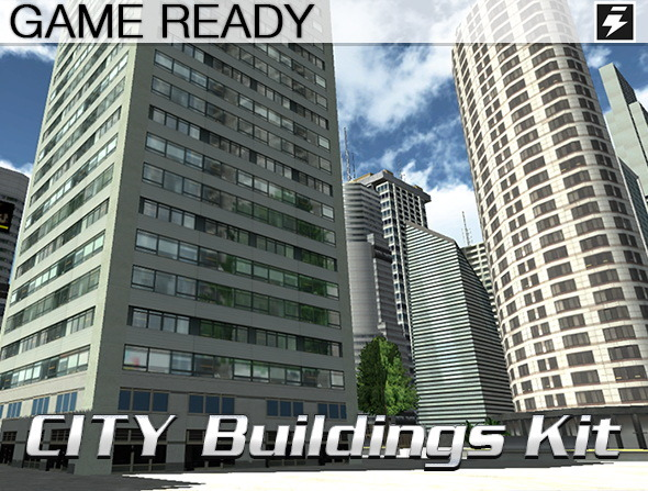 3DOcean Game Ready City Buildings Kit 8728906