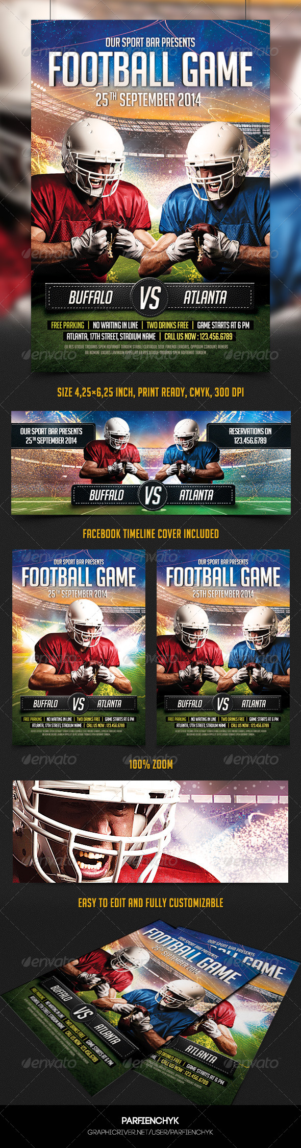 GraphicRiver Football Game Flyer Template 8728993