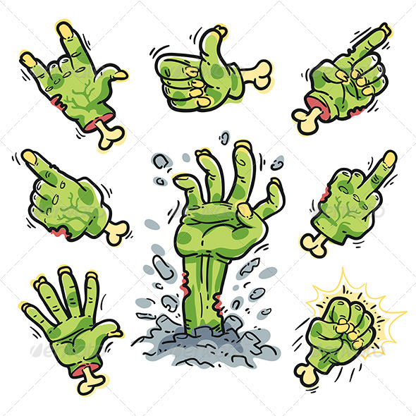 GraphicRiver Cartoon Zombie Hands Set for Horror Design 8721484