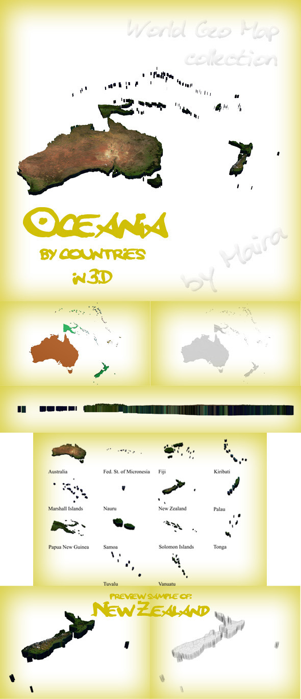 World Geo Map - Oceania - 3DOcean Item for Sale