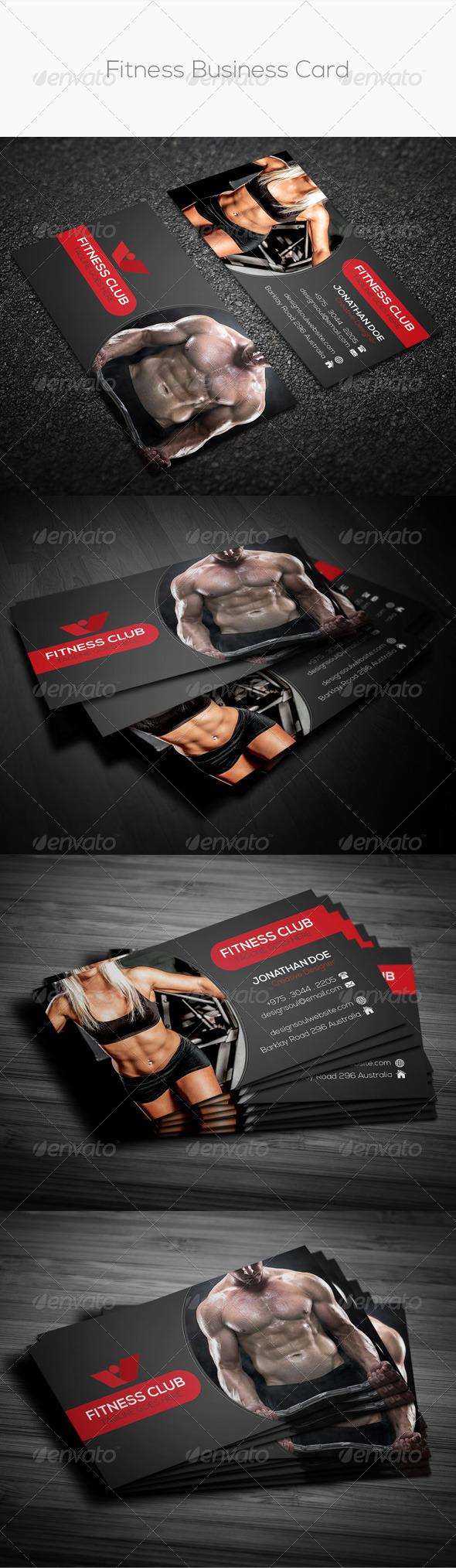 GraphicRiver Fitness Business Card 8729601