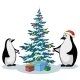 Penguins and Christmas Tree - GraphicRiver Item for Sale