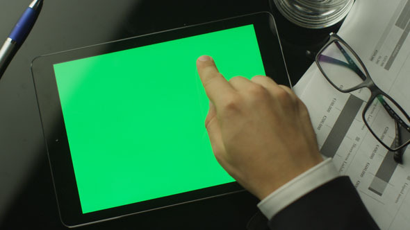 Businessman Using Tablet PC with Green Screen 2