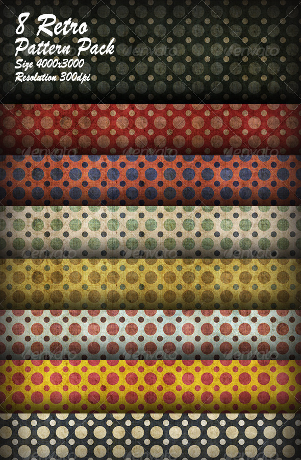 GraphicRiver 8 Retro Pattern Pack 8731295