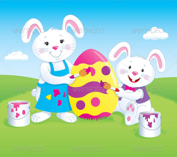 GraphicRiver Bunnies Painting an Easter Egg 8731332