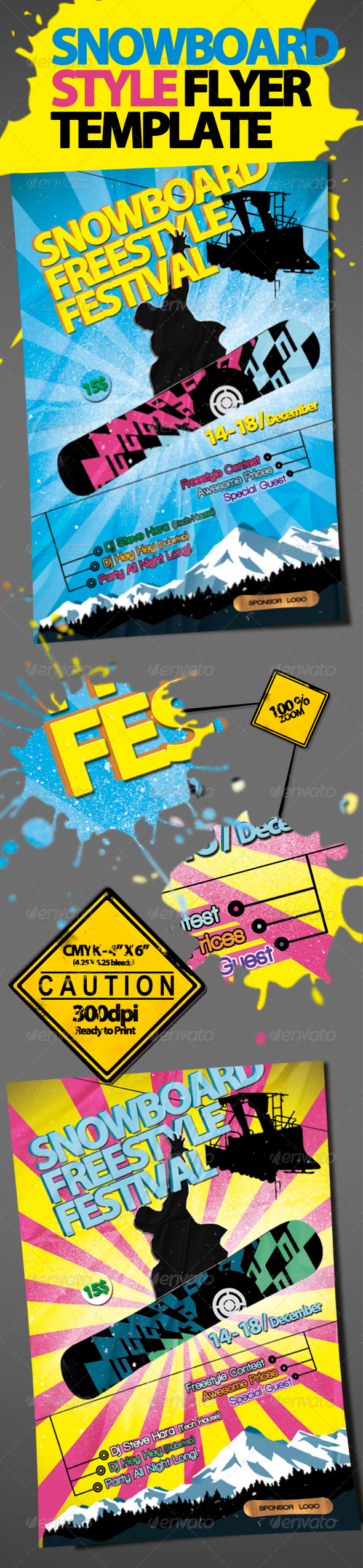 GraphicRiver Snowboard Style Flyer Template 887856