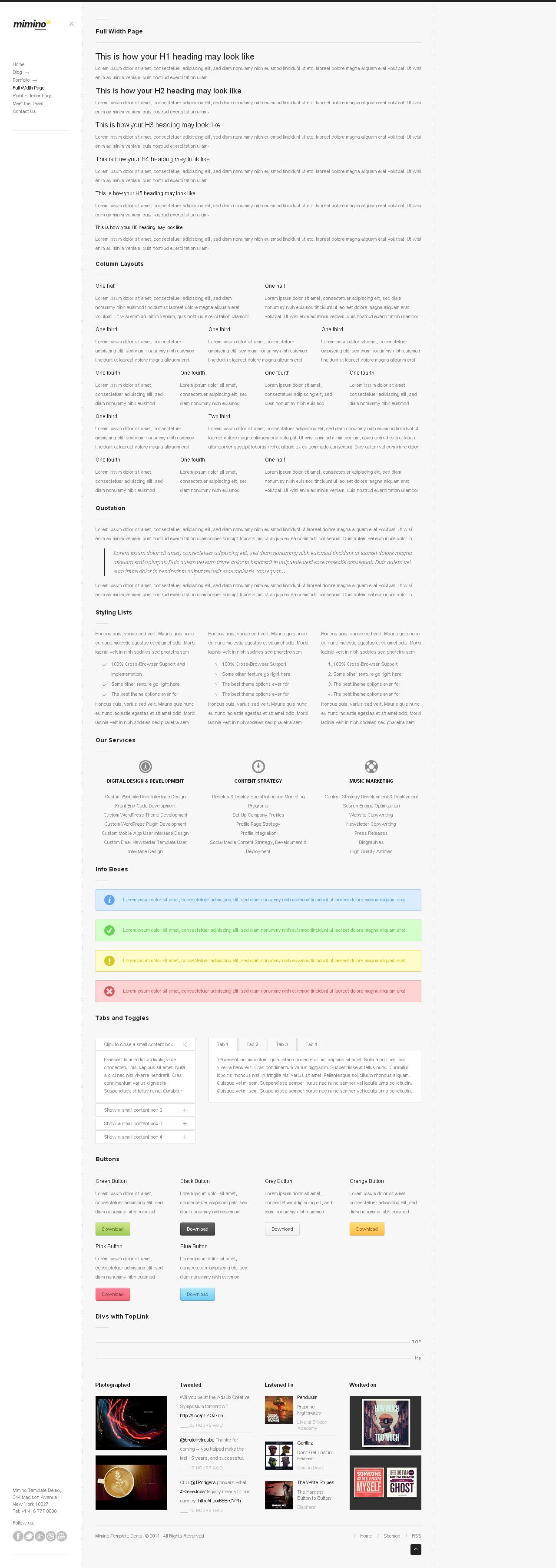 Mimino - Minimalist HTML5 Portfolio Template
