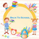 Back to School Illustration with Happy Kids - GraphicRiver Item for Sale
