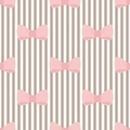 Tile pattern with pink bows on brown and white strips background - PhotoDune Item for Sale