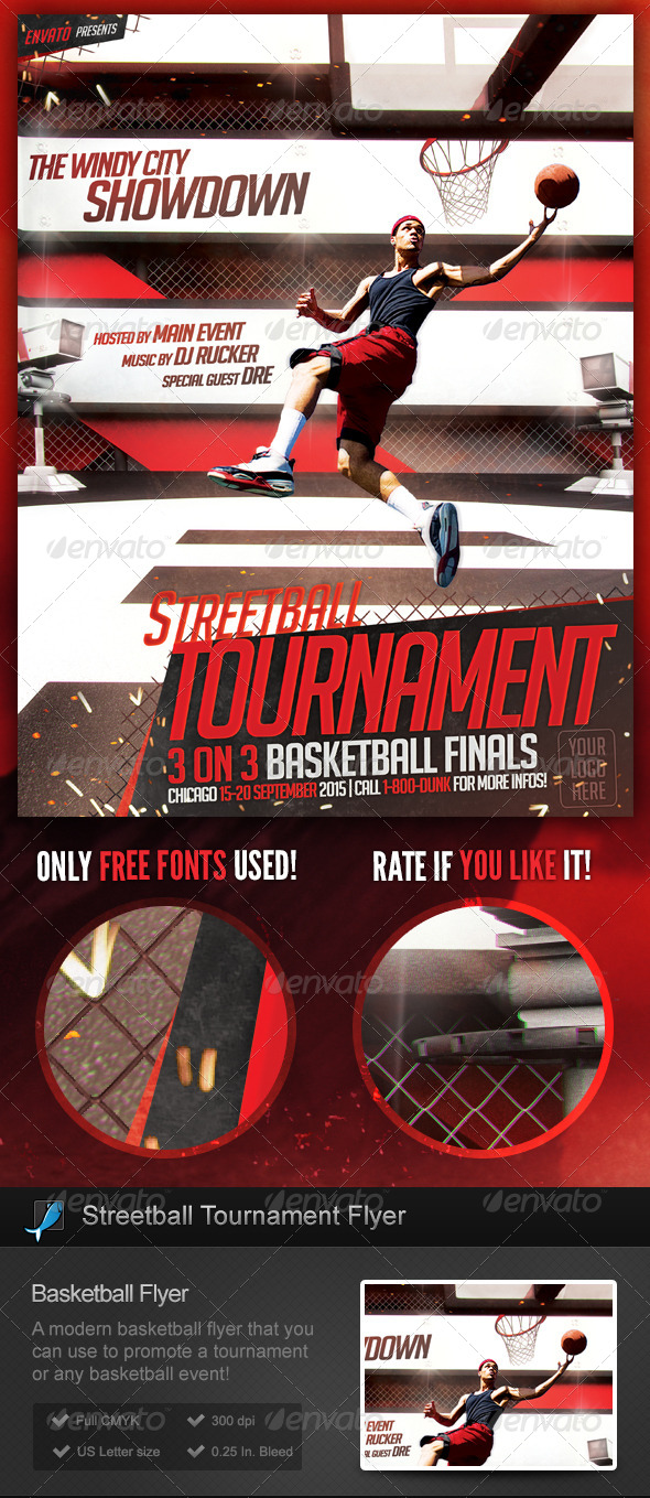 GraphicRiver Streetball Basketball Slam Dunk Flyer Template 8731884