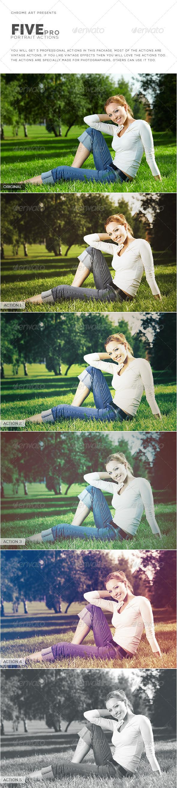 GraphicRiver 5 Pro Portrait Action 8732051