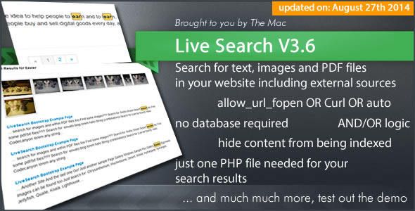 Live Search Searchengine for your Website