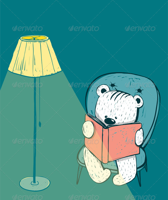 GraphicRiver Cartoon Baby Bear Reading a Book 8732826