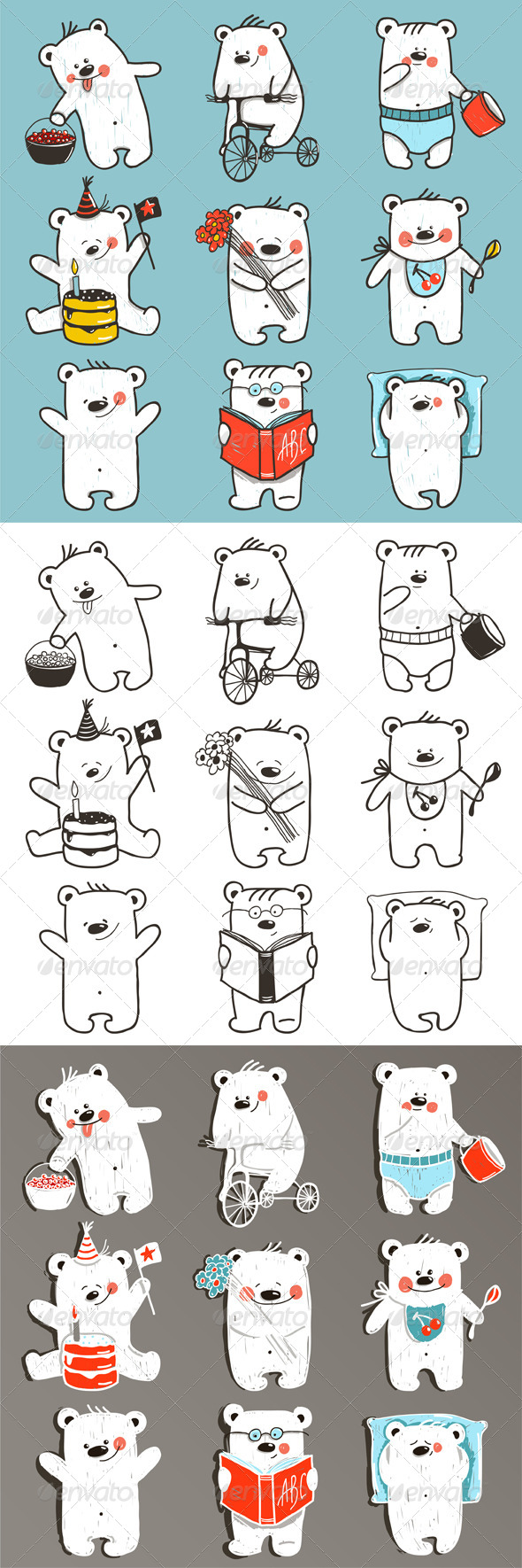 GraphicRiver Cartoon Baby Bears in Action Collection 8732832