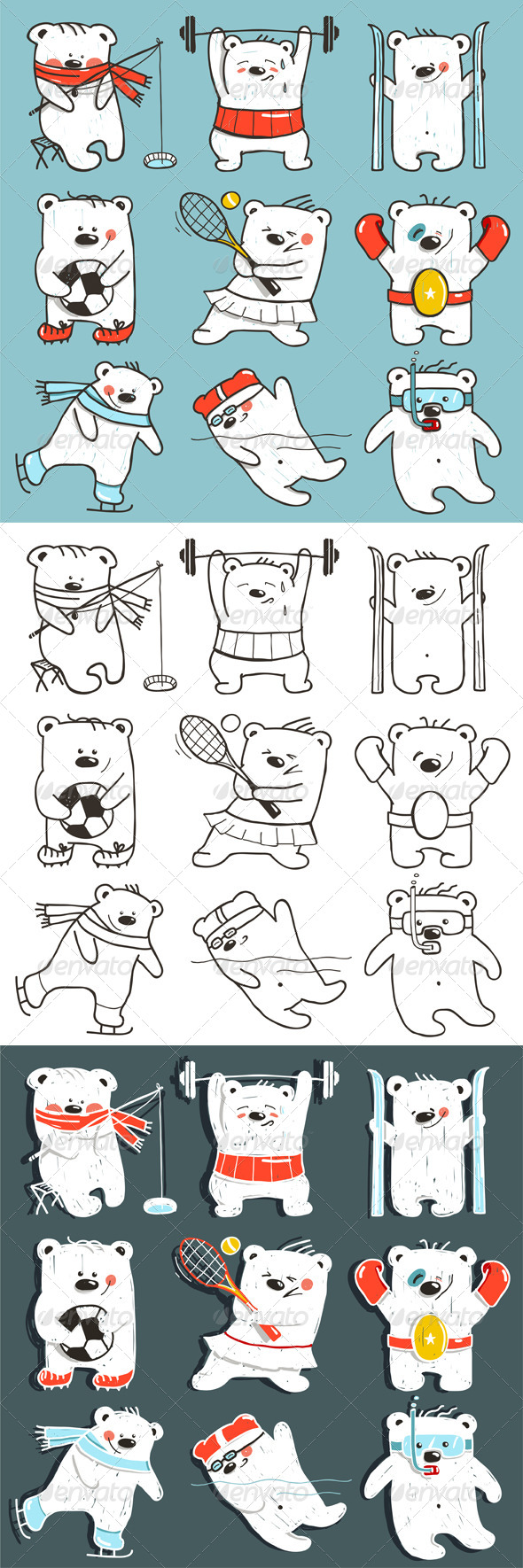 GraphicRiver Cartoon Sport Bears in Action Collection 8732864