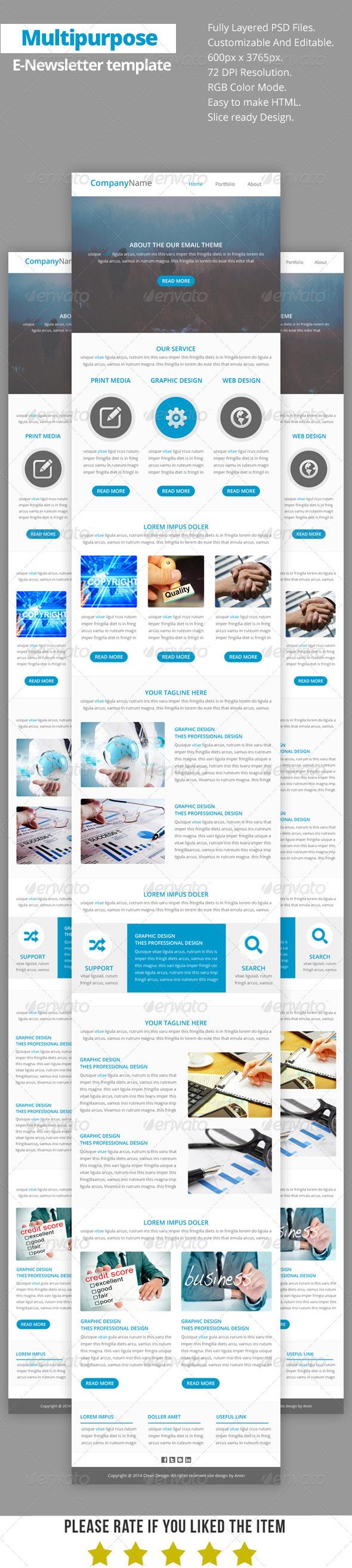 GraphicRiver Multipurpose E-Newsletter Template V14 8733006