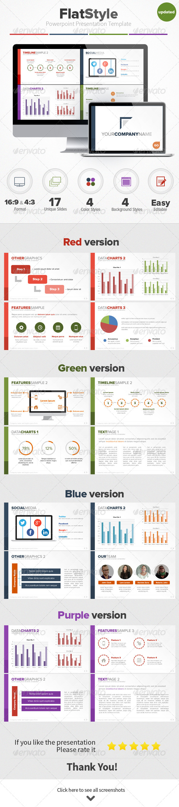 Flat Style Powerpoint Presentation Template - Business Powerpoint Templates