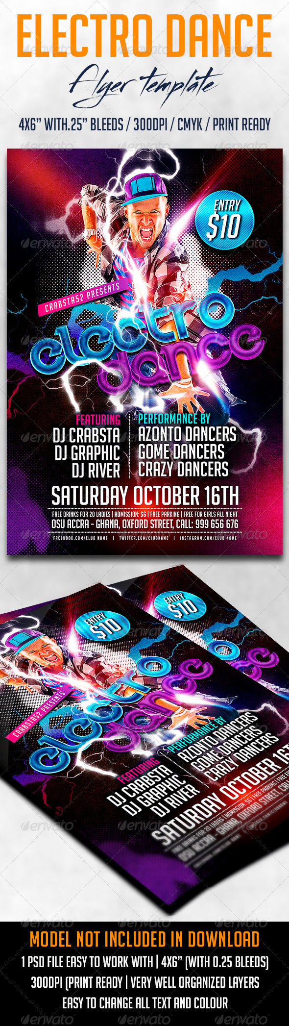 GraphicRiver Electro Dance Flyer Template 8734130