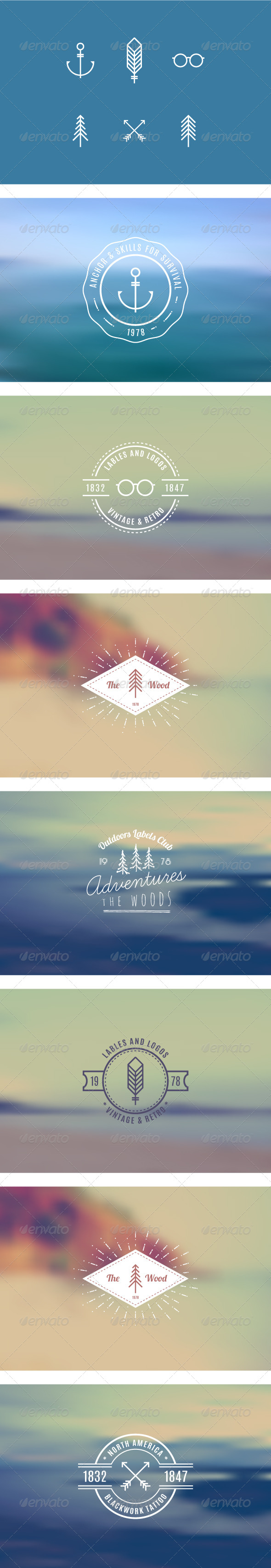 GraphicRiver Trendy Retro Vintage Insignias 8734221