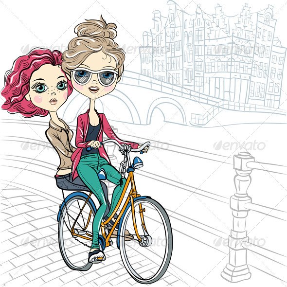 GraphicRiver Girls on the Bike in Amsterdam 8736603