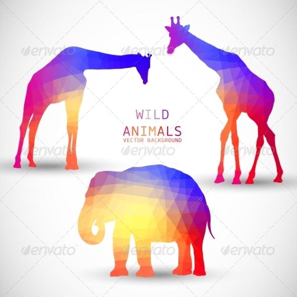 GraphicRiver Geometric Silhouettes Animals Elephant Giraffe 8736677