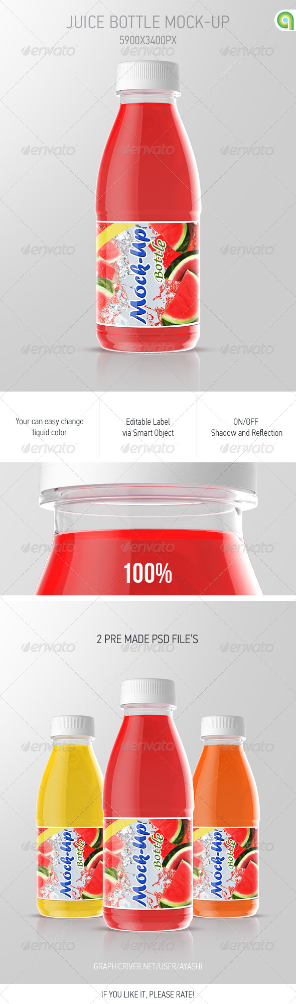 GraphicRiver Juice Bottle Mockup 8736678