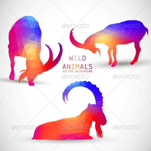 GraphicRiver Geometric Silhouettes of Animals Goat Ibexes 8736685
