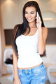 Beautiful woman standing chatting on her mobile - PhotoDune Item for Sale