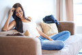 Young woman enjoying a relaxing day at home - PhotoDune Item for Sale