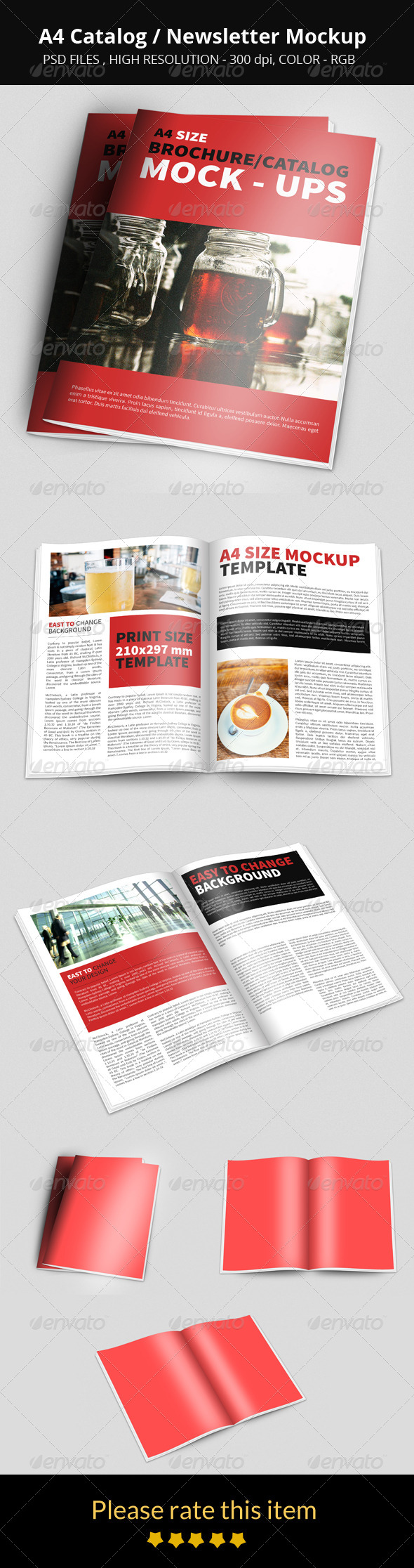 GraphicRiver A4 Catalog Newsletter Mockup 8736854
