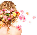 Hairstyle with colorful flowers. Haircare concept. Backside view