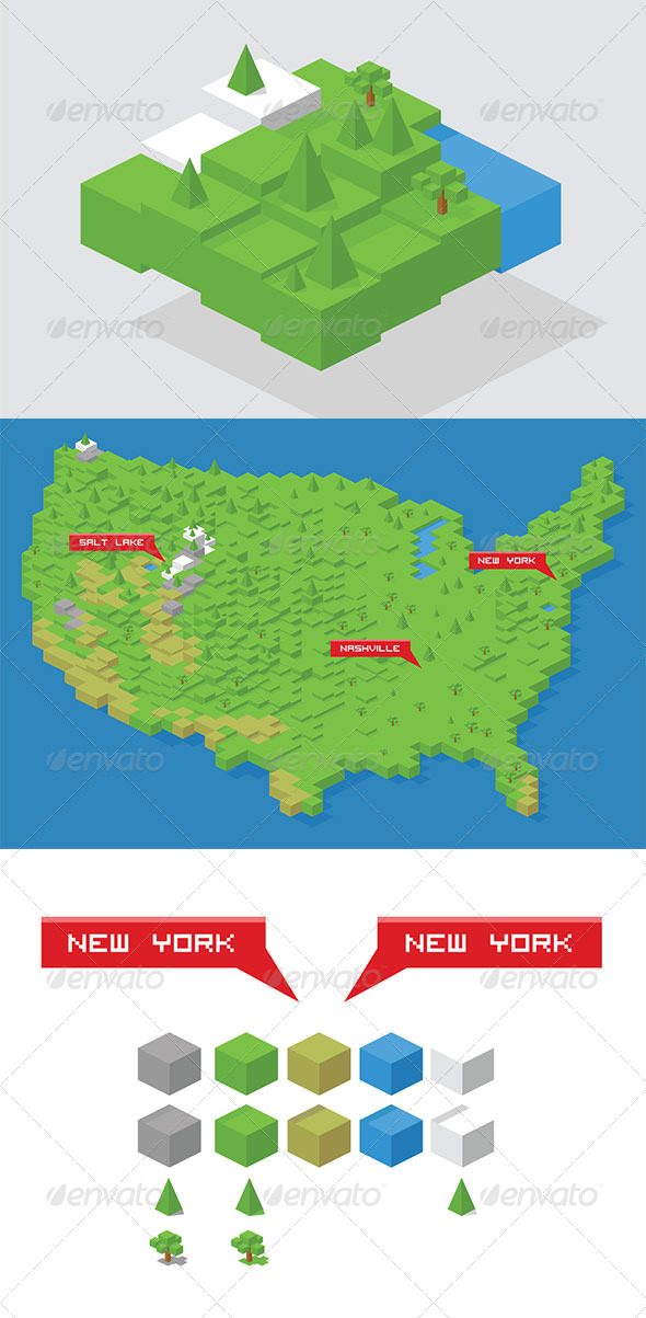 GraphicRiver Isometric Cube Map Builder Kit & USA Map 8737060