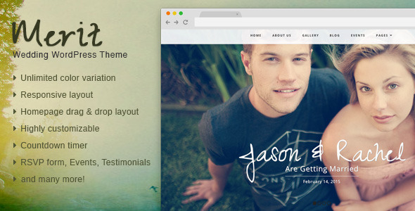 ThemeForest Merit Responsive WordPress Wedding Theme 8612163