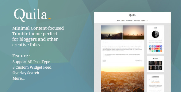 ThemeForest Quila Clean Content-Focused Tumblr Theme 8716514