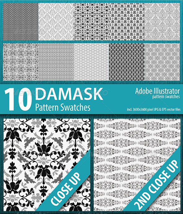 GraphicRiver 10 Damask Flourish Pattern Swatches 8737166