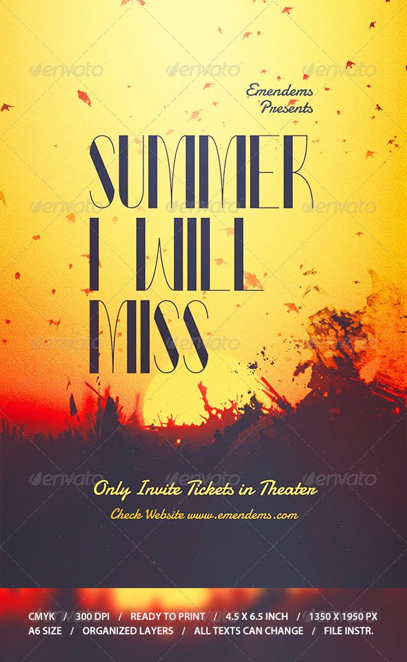 GraphicRiver Summer I Will Miss Flyer Template 8737171