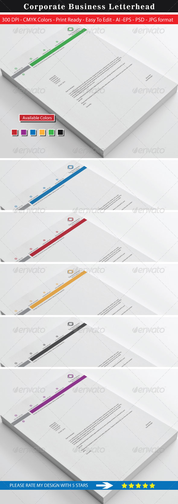 GraphicRiver Top Star Business Letterhead 8737494