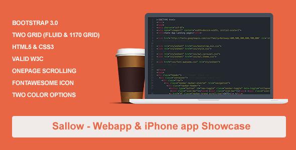 Sallow  iPhone & Web Start Up Template - Marketing Corporate