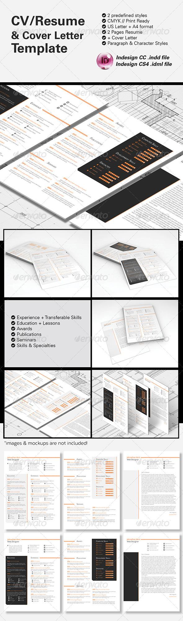 GraphicRiver CV Resume & Cover Letter A4 & US Letter 8683512