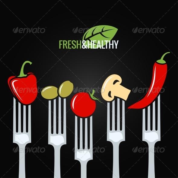 GraphicRiver Vegetables on Fork Food Design Menu Background 8737834